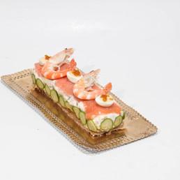 banda de patatas lagostinos y salmón