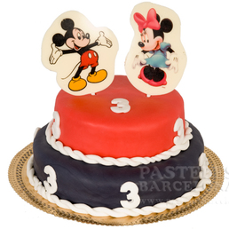 Pastel de pasta americana miky y mini mouse