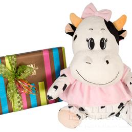 Vaca baby de peluche con caja de bombones